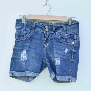 Wallflower Denim Cuffed Distressed Shorts Size 5